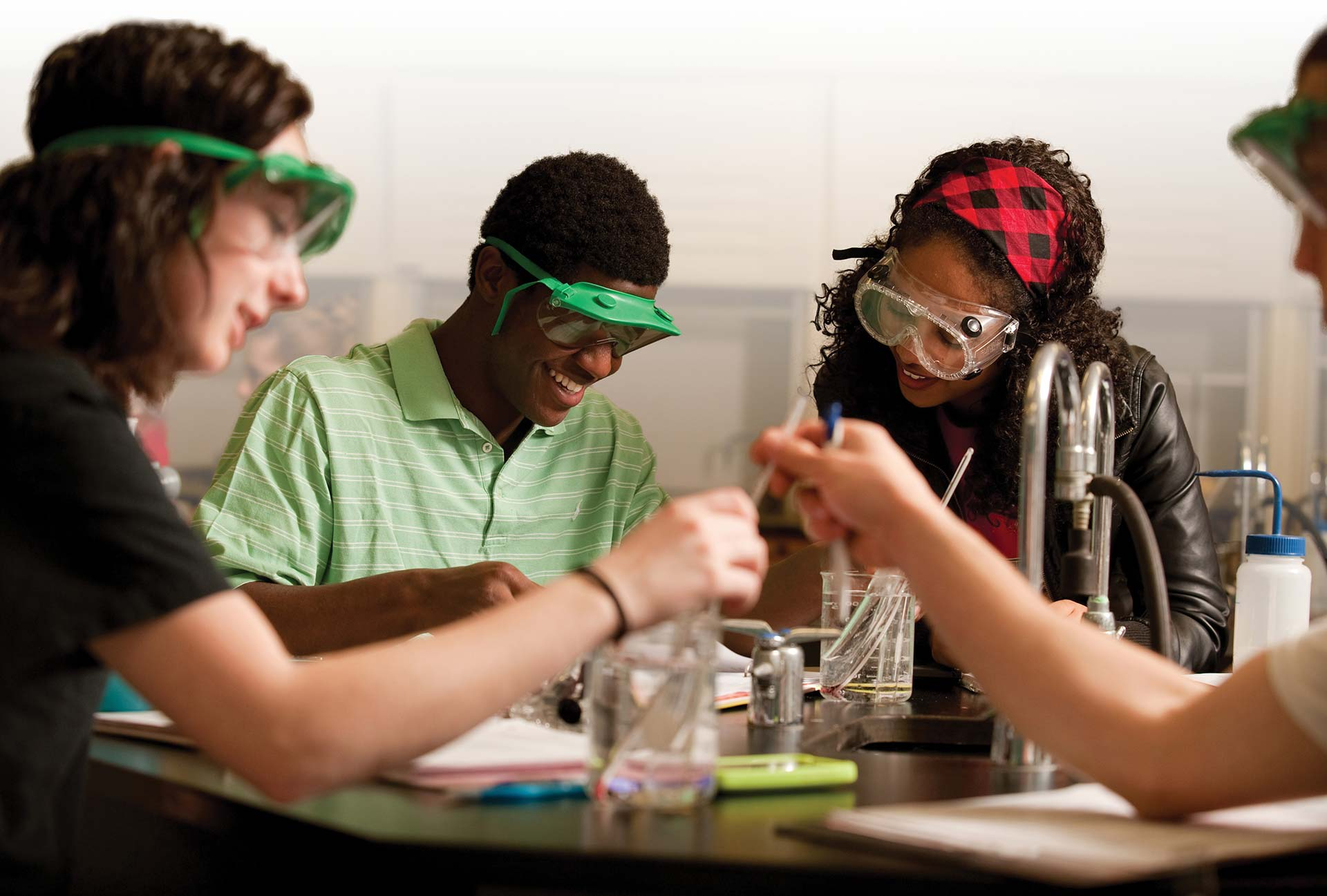 Hesston College students in chemestry lab