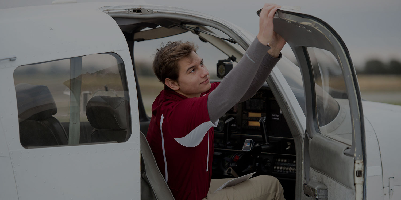 Student going through pre-flight checks