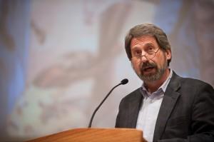 """John Sharp speaks at a Hesston College """"Common Threads"""" program"""