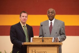 2010 Hesston College Commencement speakers Dustin Galyon and Tony Brown