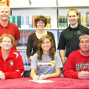 Erika Wedel signs a tennis letter of intent with Hesston College