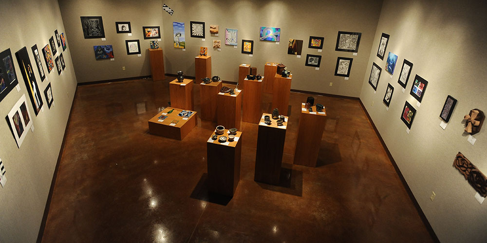 The gallery in Friesen Center filled with student works from the 2011-12 year.