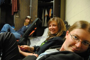 students relax in an Erb Hall dorm room