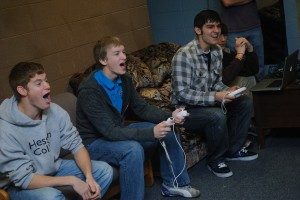 students play video games in Hesston College's Erb Hall
