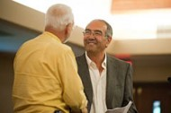 Chemistry professor Jim Yoder (left) visits with Gene Zaid '71.