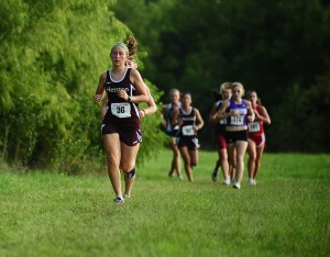 Hesston College freshman Krista Rittenhouse runs at the Friends University meet.