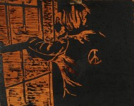 The Dreamer by Ken Gingerich, woodcut plate, 1971