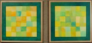 Spring Fields Patchwork #1 by Ken Gingerich, diptych, acrylic on masonite