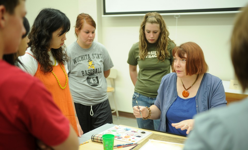 Art faculty member Lois Misegadis teaches watercolor painting in Friesen Center for the Visual Arts.