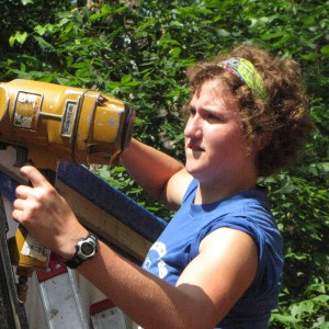Disaster Management student Leah Rittenhouse works at an MDS project site.