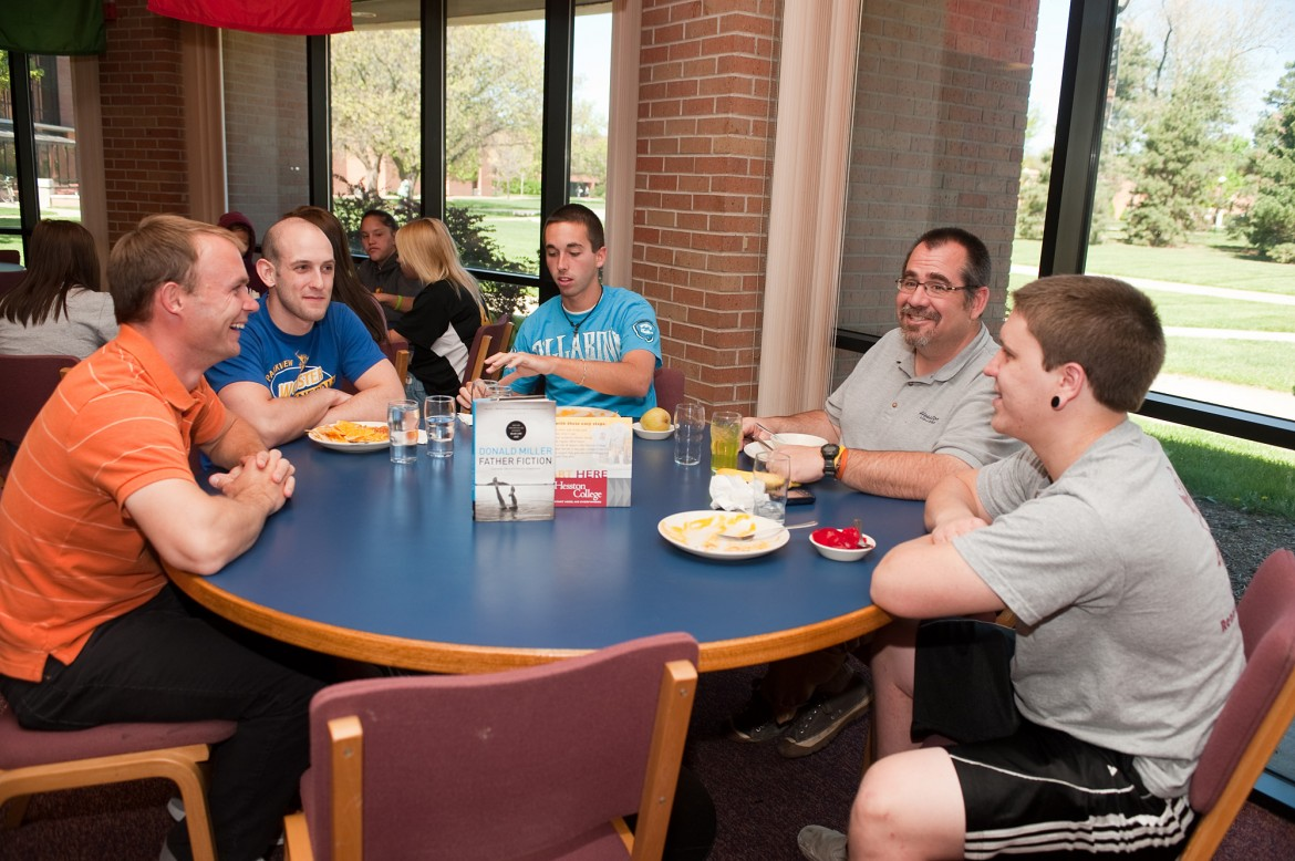From left, Jeron Baker, Tyler Jones, David Tedone, Kevin Wilder and Josiah Simpson enjoy each other's company during their last weekly Thursday lunch meeting.