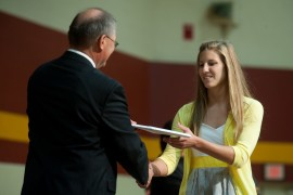Erika Shrock receives her diploma