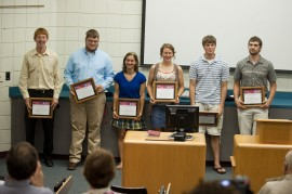 The six Disaster Management graduates are recognized during commencement weekend 2011