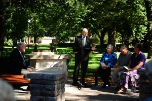 Melvin Schmidt speaks at the Freedley Schrock Memorial dedication