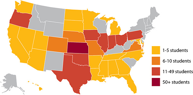 2013 map of home states of Hesston College students
