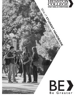 2016-17 Hesston College Student Handbook cover