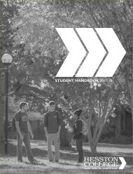 2017-18 Hesston College Student Handbook cover