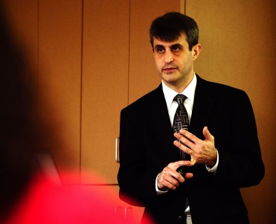 Hesston Aviation alumnus Loren Groff speaks at the 2011 Aviation as Mission