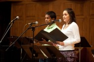 Kush Lengacher '12 of New Providence, Pa., and Andrea DeAvila Balboa '12 of Matamoros, Mexico, read Scripture during the Sunday morning worship service.