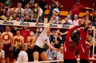 Sophomore Kendra Mast (Dundee, Ohio) goes up for a kill against Labette Community College.