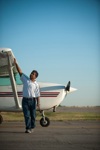 Sophomore Aviation student Kush Lengacher of New Providence, Pa. goes through the pre-flight process.
