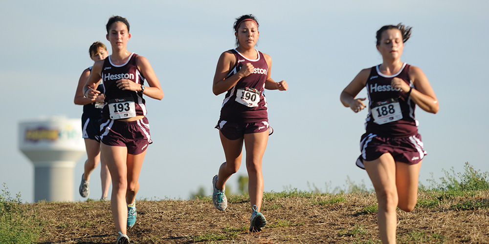 Hesston College women's cross country action photo