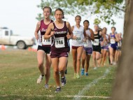 Sophomore Krista Rittenhouse (Mt. Pleasant, Pa.) leads a pack of runners. Photo by Curtis Denlinger