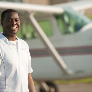 Hesston College aviation student Zeke Lazaro