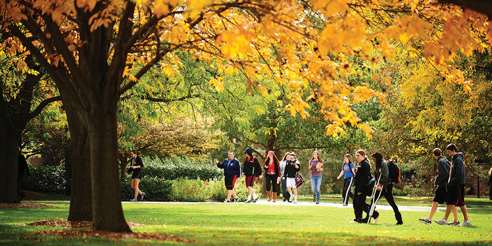 Students walking across the Hesston College campus