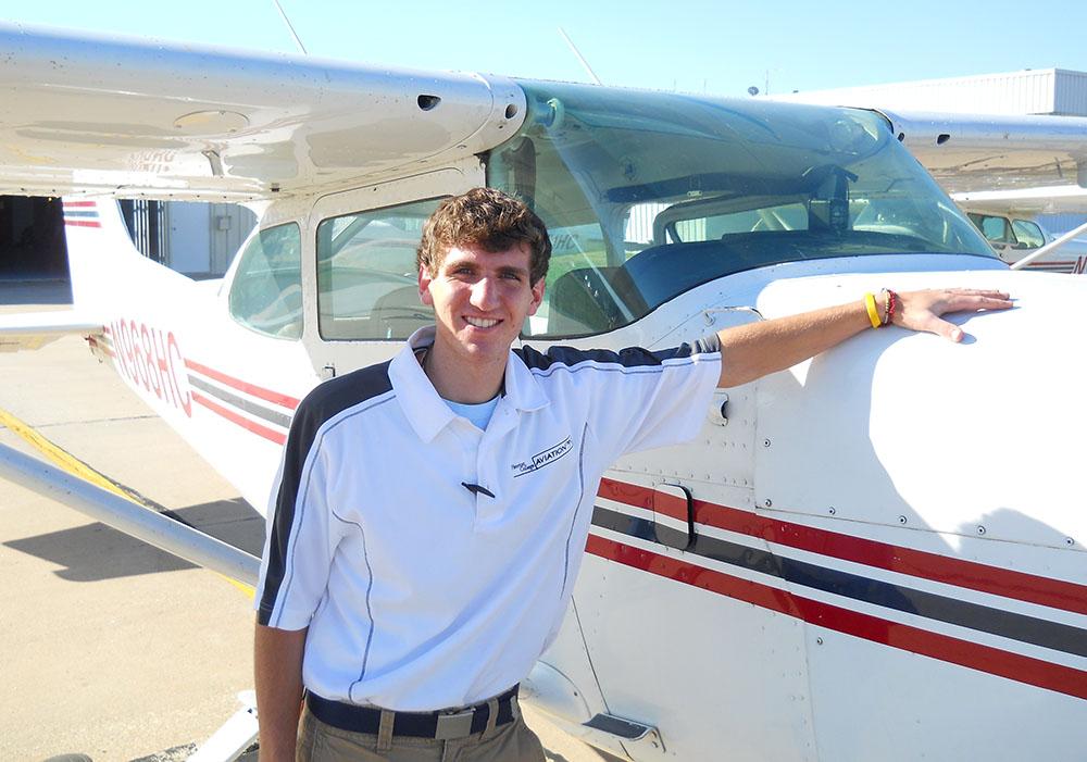 Adam Heisey, a freshman in Hesston College's aviation program, earned his private pilot license Feb. 26.