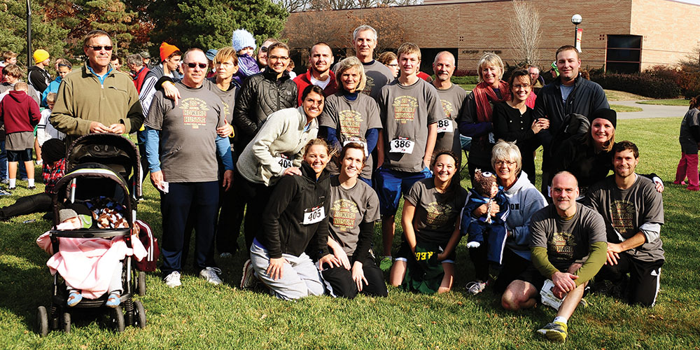 Members of the Jim and Belle Boyts family pose for a family photo following the Howard Hustle during Thanksgiving 2011.