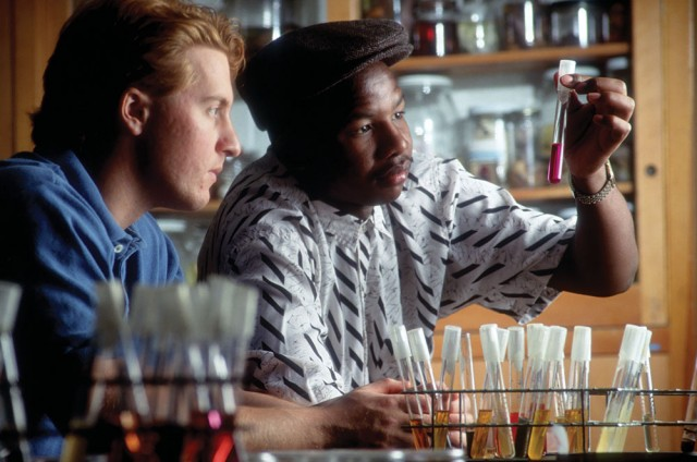 Muzi Ncube '91, right, participates in a lab while a student in the early 1990s. He is now a pharmacist in Indianapolis. Photo by Jay Thomas.