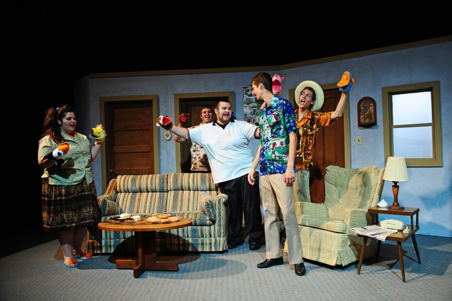 """The cast of the fall 2011 theatre production """"The Boys Next Door"""" rehearse a scene.  Pictured from left are freshmen Deni Brummer (Hutchinson, Kan.), Simeon Taylor (Girard, Kan.), Cameron Ponce (Elkhart, Ind.), Nathan Bray (Canton, Kan.) and David Rudy (Manheim, Pa.)."""