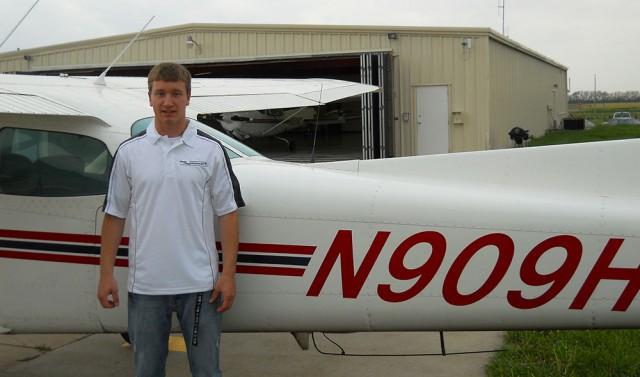 Johnathan Berkholz of Goessel, Kan., acheived his first solo flight through Hesston College's aviation program.