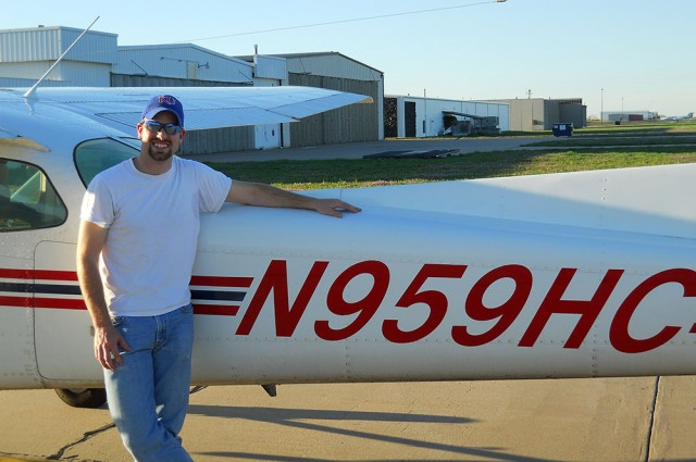 Nathan Holmes of Elbing, Kan., achieved his first solo flight through Hesston College's aviation program.