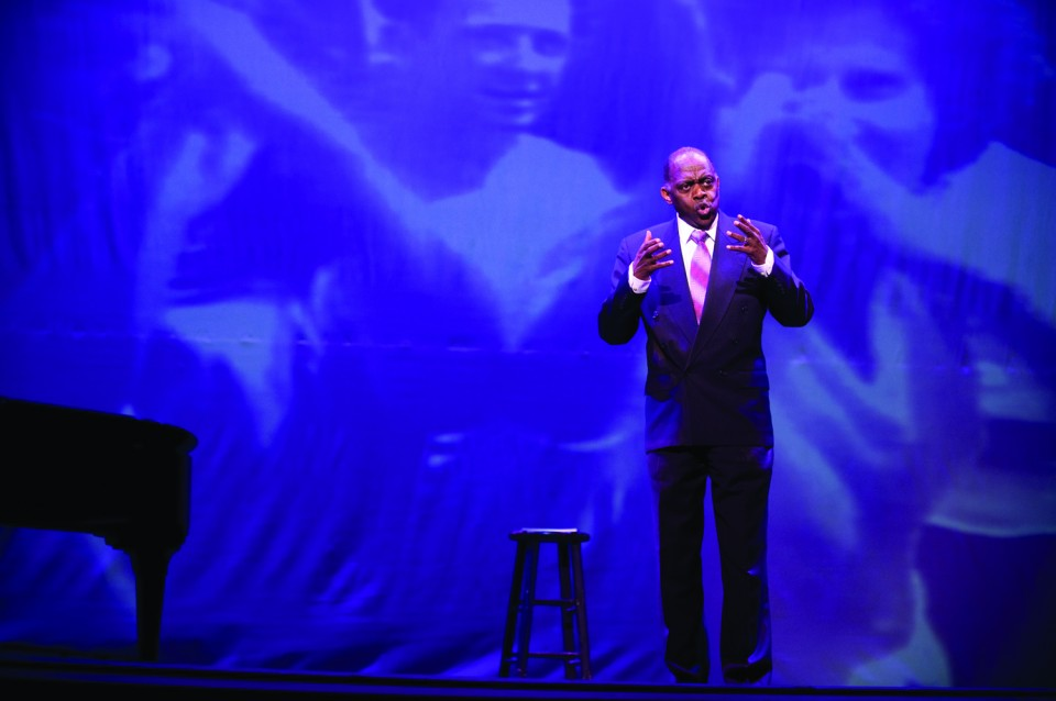 "Tony Brown performs in ""I Go On Singing,"" his tribute to Paul Robeson, at the Orpheum Theatre in Wichita, Kan., in Feb. 2012."