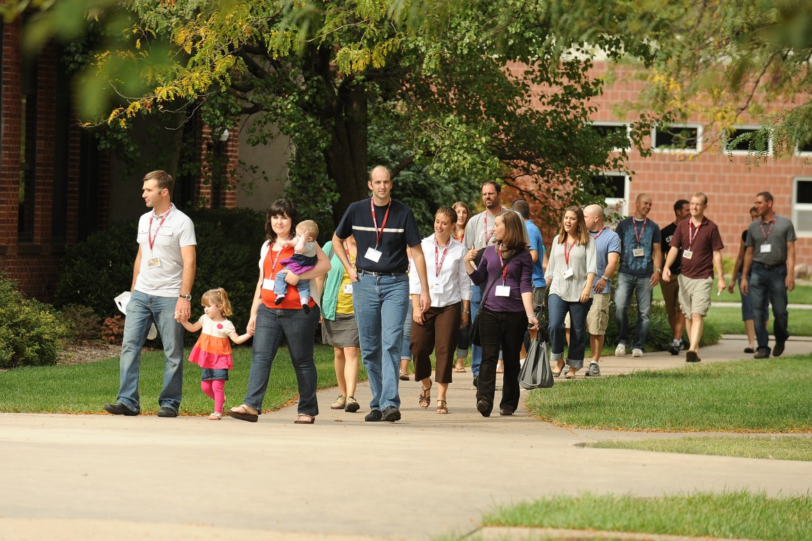 Members of the class of 2002 see changes and updates on a campus tour. More than 500 alumni and friends were on campus for the weekend.