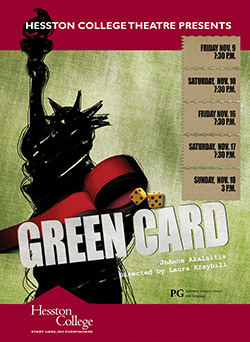 "Promotional poster for Hesston College production of ""Green Card"""