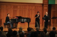 JD Martin '68, Jan Garrett and Molly Simmering, former staff, perform a concert of original songs by JD and Jan, who are multi-award winning singer-songwriters. JD wrote a new college song Start Here, which he introduced at Friday chapel with Garrett, Simmering and students.