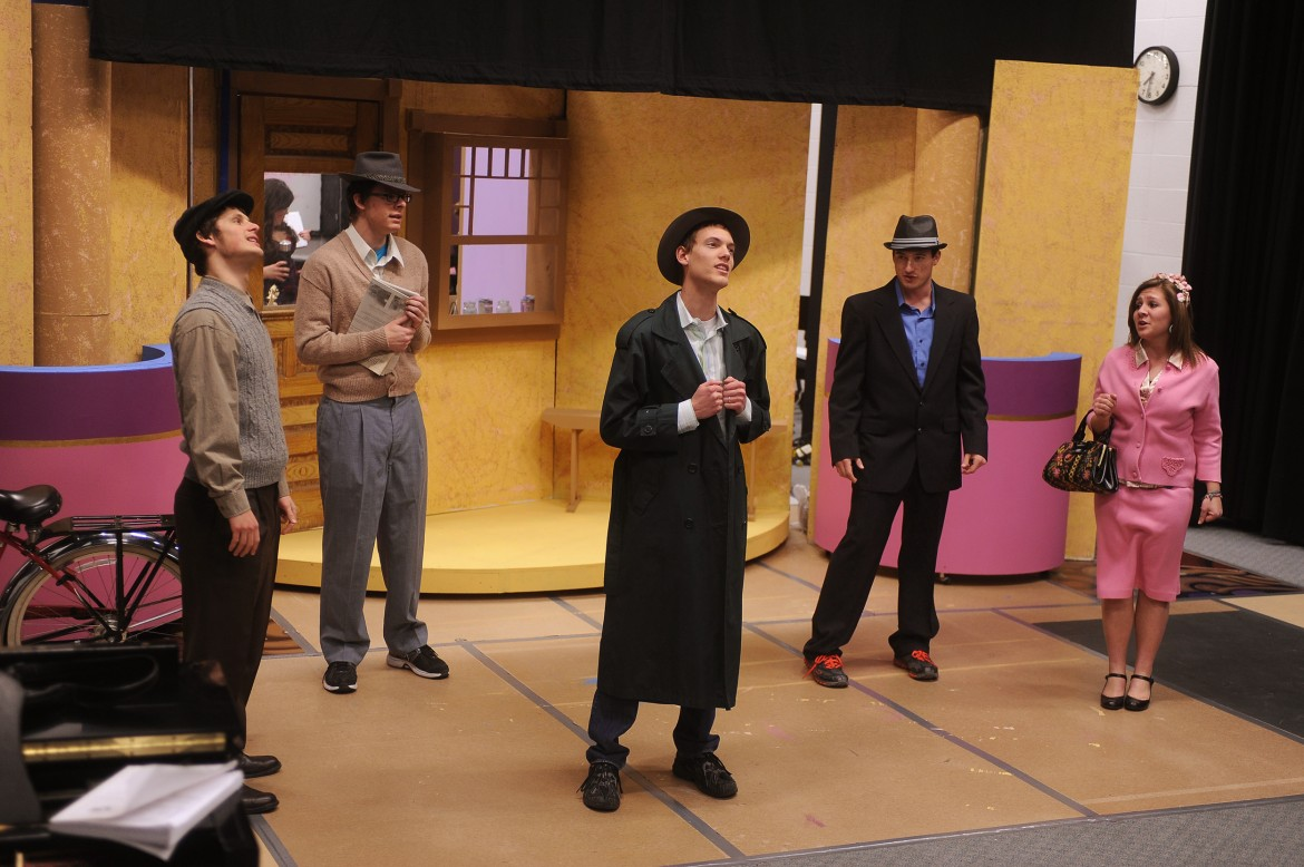 "Hesston College students rehearse a scene from the spring musical ""She Loves Me."" The show opens Feb. 22 at 7 p.m. in the Northlawn Studio Theatre. Pictured from left are freshman Nathanael Ressler (Mount Vernon, Ill.), freshman JD Hershberger (Hesston, Kan.), sophomore David Rudy (Manheim, Pa.), sophomore Broxton Busenitz (North Newton, Kan.) and freshman Morgan Martin (New Holland, Pa.)."