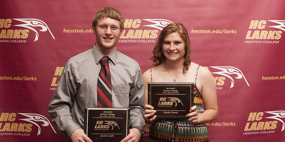 Isaac Landis and Hayley Gately, Hesston College student athletes of the year 2012-13