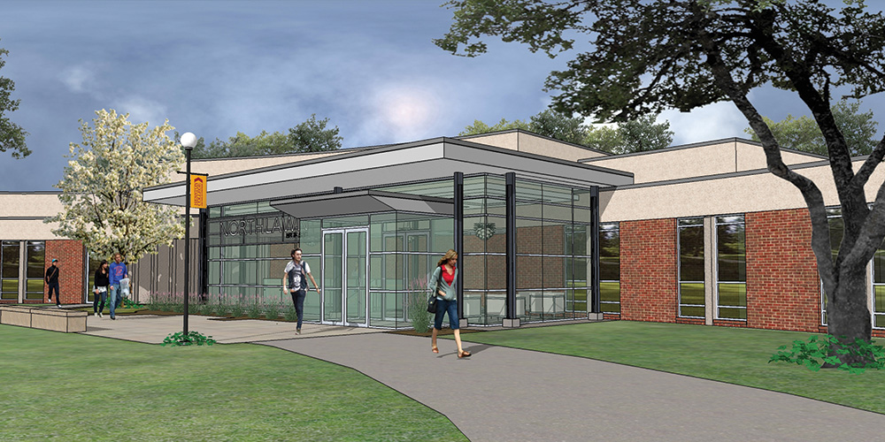 artist's rendering of changes to Hesston College's Northlawn