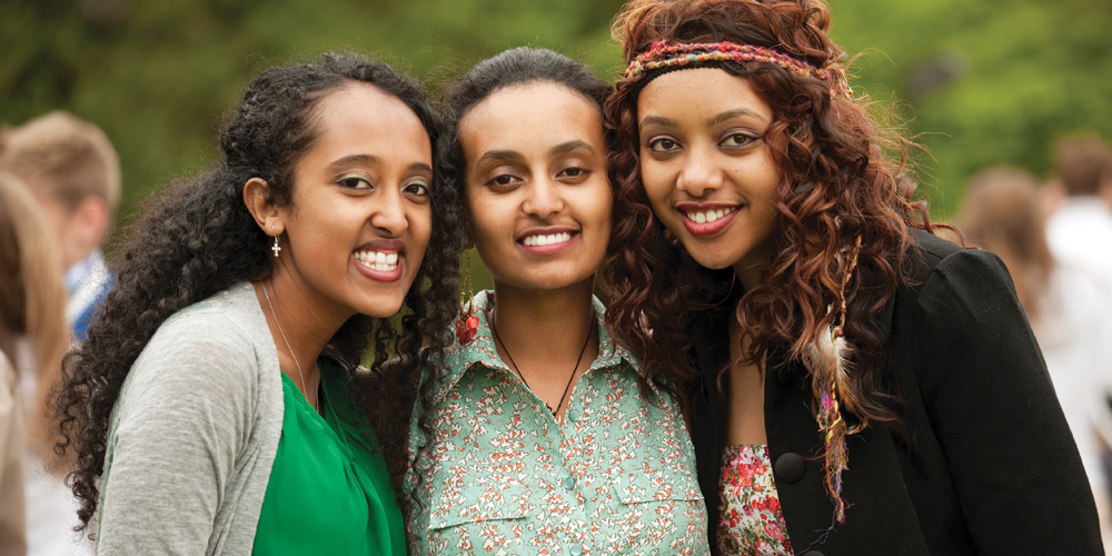 Asbel Assefa, Herane Girma and Zenawit Nerae celebrate their graduation and friendship.