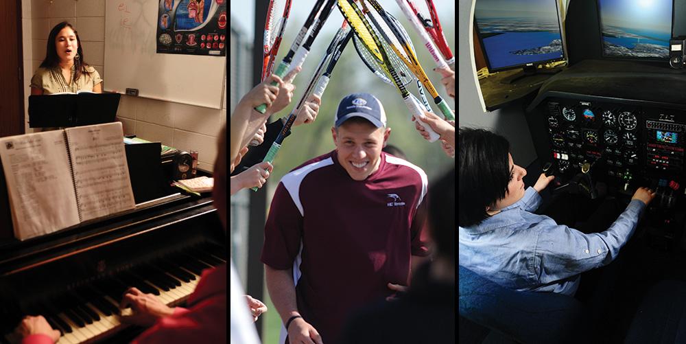 piano, tennis, aviation graphic