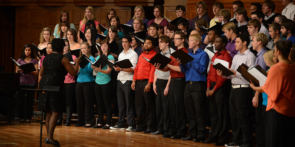 "Hesston College and Bluffton (Ohio) University perform at ""A Celebration of Gospel: Music and Worship in the African-American Tradition"" at Hesston College."