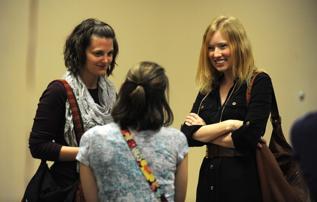 Bethany Miller (Hesston, Kan.) and Megan Miller (Wichita, Kan.) talk with Amanda Yoder (Goshen, Ind.), a fellow Hesston College Class of 2008 alumna during class reunions Sept. 28.