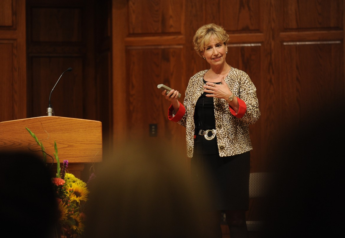 "Gloria Solis, a 1980 Hesston College graduate and chief nursing officer and chief operating officer at Saint Luke's East Hospital in Lee's Summit, Mo., gives the keynote presentation, ""The Future of Nursing: It's in our Hands,"" as the kickoff to Hesston College's Homecoming symposium Sept. 27."