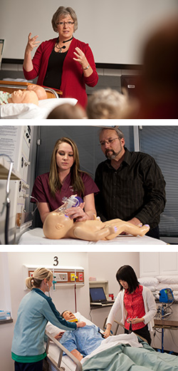 a collage of Hesston College nursing photos
