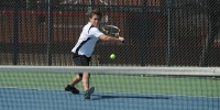 Hesston College men's tennis action - Kedrik Mast