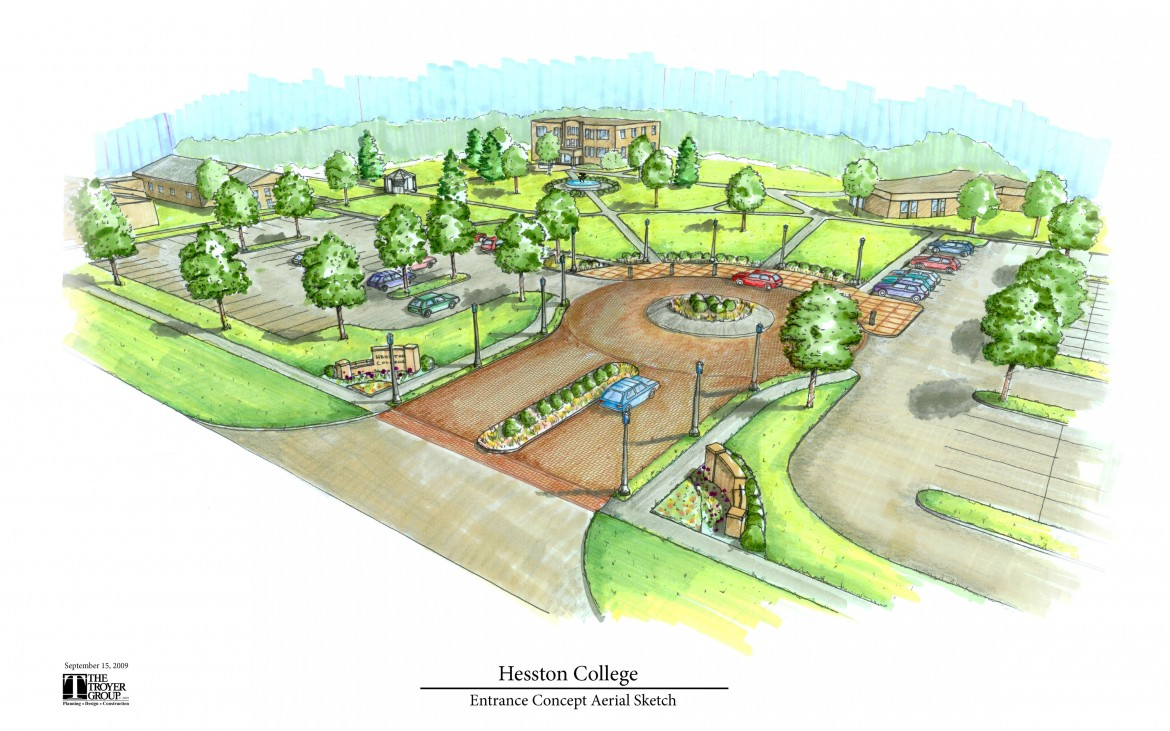 This artist's rendering (The Troyer Group, Mishawaka, Ind.) gives a glimpse of changes coming to Hesston College's North campus entry. The college received a grant from the Mabee Foundation to fund the construction of the entry as well as renovations to Northlawn, the performing arts center.
